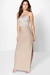 Boohoo Lace Slinky Strappy Halterneck Maxi Dress Taupe