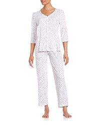 Karen Neuburger Floral Cotton Blend Pajama Set White