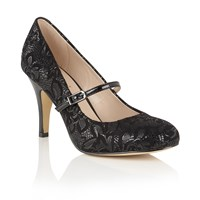 Lotus Fuzina Floral Print Mary Jane Courts Black