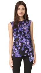 Jason Wu Floral Sleeveless Top Black Iris