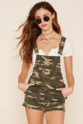 Forever 21 Camo Print Overall Shorts
