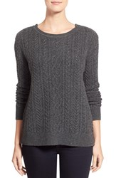 Women's Nordstrom Collection Zip Shoulder Cable Wool And Cashmere Sweater Grey Stonehenge Heather
