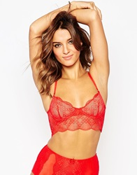 Asos Geisha Lace Long Line Underwire Bra Red