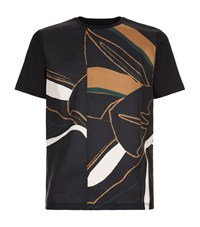 Wooyoungmi Abstract Floral Print T Shirt Male Navy