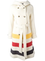 Woolrich Striped Hooded Coat White
