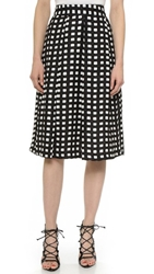 J.O.A. Checkered Midi Skirt Black White