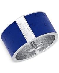 Guess Silver Tone Ostrich Embossed Faux Leather Hinged Cuff Bracelet Navy