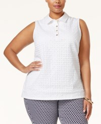 Charter Club Plus Size Eyelet Polo Shirt Only At Macy's Bright White