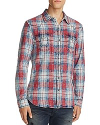 True Religion Western Plaid Flannel Regular Fit Button Down Shirt Grafitti Red
