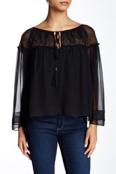 Twelfth St. By Cynthia Vincent Metallic Georgette Silk Blouse Black