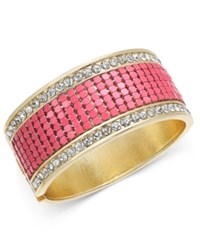 Thalia Sodi Gold Tone Pink Bead And Crystal Hinged Bangle Bracelet Only At Macy's
