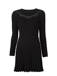 Red Valentino Tulle Panel Pleated Knit Dress Black