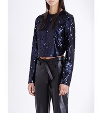 Topshop Unique Sequin Embellished Cropped Top Navy
