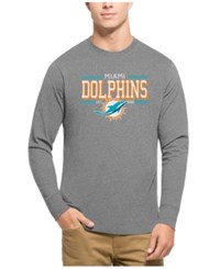 47 Brand '47 Men's Miami Dolphins Double Option Splitter Long Sleeve T Shirt Gray Aqua Orange