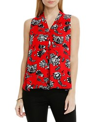 Vince Camuto Petite Floral Print High Low Blouse Red