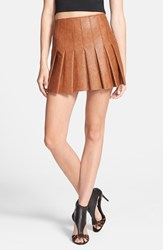 Astr Women's Faux Leather Pleat Front Skirt