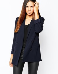 Warehouse Double Breasted Textured Blazer Navy