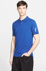 Y 3 'Classic' Cotton Polo Blue