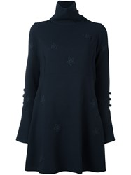 See By Chloe Flower Embroidered Dress Blue