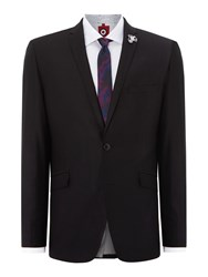 Lambretta Plain Slim Fit Notch Collar Suit Black