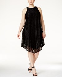 Trixxi Plus Size Crochet Shift Dress Black