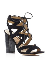 Sam Edelman Yardley Caged Lace Up Embossed High Heel Sandals Black
