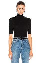 Helmut Lang Short Sleeve Turtleneck Tee In Black