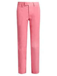 Gucci High Rise Straight Leg Leather Trousers Pink