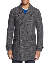 Ted Baker Watts Plaid Double Breasted Coat Gray