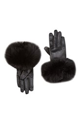 Dena Touch Tech Genuine Fox Fur Trim Leather Gloves Black