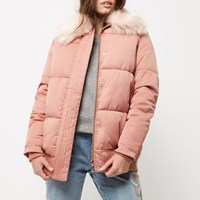 River Island Womens Petite Pink Padded Coat With Faux Fur Trim