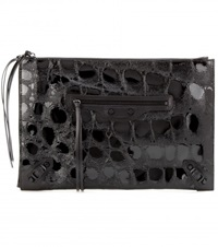 Balenciaga Classic Pouch Embossed Patent Leather Clutch Black