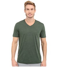 Icebreaker Sphere Short Sleeve V Neck Conifer Heather Men's Clothing Navy
