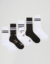 Asos Sports Style Socks 5 Pack With Looney Tunes Design White