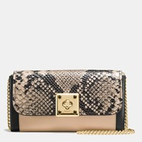Coach Drifter Wallet In Exotic Embossed Leather Light Gold Beechwood Black
