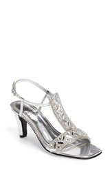 Love And Liberty Women's Crystal Embellished T Strap Sandal Silver Faux Leather