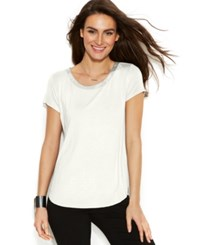 Alfani Short Sleeve High Low Tee Soft White