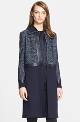 St. John Sparkle Micro Tweed Knit Topper With Detachable Panel Navy Multi
