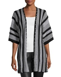 Alberto Makali Multipattern Knit Cardigan With Studded Trim Black Whit