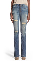 Hart Denim 'Nina' Button Fly Skinny Flare Jeans Medium Wash