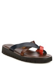 Saks Fifth Avenue Colorblock Cross Strap Leather Sandals Brown Navy