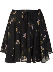 A.L.C. Floral Print Pleated Skirt Black
