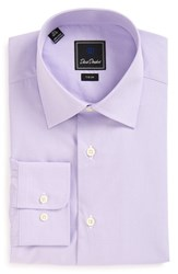 David Donahue Men's Big And Tall Trim Fit Houndstooth Dress Shirt Lilac
