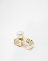 Love Rocks Pearl Bar Ring Gold