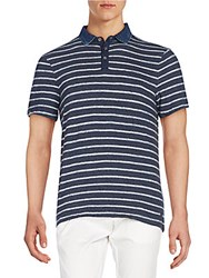 Calvin Klein Jeans Striped Cotton Polo Blue