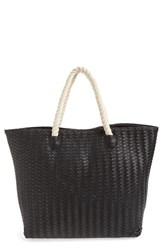 Deux Lux 'Crosby' Woven Faux Leather Rope Handle Tote