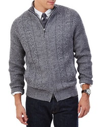 Nautica Cable Knit Zip Cardigan Grey