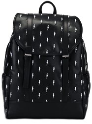 Neil Barrett Bolts Embroidered Backpack Black