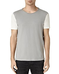 Allsaints Auster Color Block Crewneck Tee Chalk White Blue