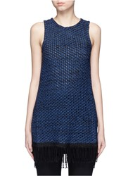 Nicholas Fringe Knit Sleeveless Top Blue